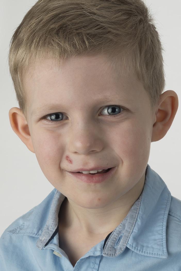 Børnefotografi før redigering